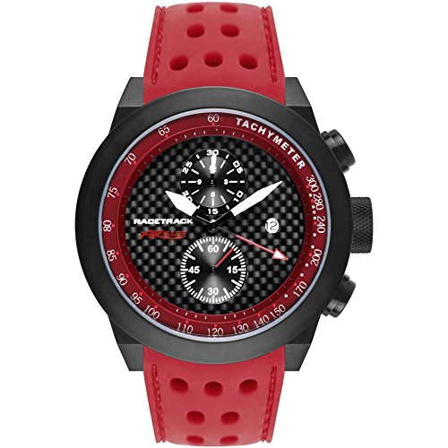 Glam Rock Men's Racetrack 48mm Red Silicone Band IP Steel Case Swiss Quartz Black Dial Watch GRT29116F-N