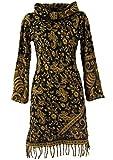 Guru-Shop Minikleid Boho Chic, Schalkragen Tunika, Damen, Schwarz/Curry, Synthetisch, Size:M (38), Kurze Kleider Alternative Bekleidung