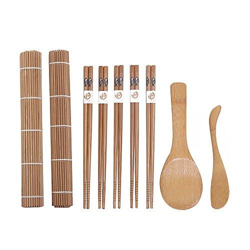 EBILUN DIY 9 piezas Sushi Roller Alfombrilla de bambú cuchara palillos para hacer alimentos Rolling Pad Paddle herramienta de cocina para el hogar, Kichen