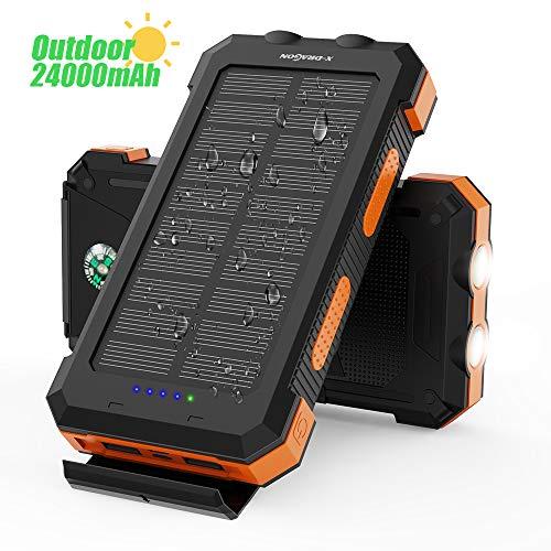 X-DRAGON Solar Power Bank 24000mAh Wasserdichtes Tragbares Solarladegerät mit Zwei Eingängen (USB C & Micro), Doppelter Taschenlampe, Kompass für iPhone, iPad, Samsung, Handys, im Freien, Camping