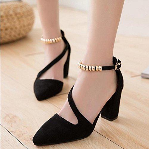 DM&Y 2017 Suede indic¨° di massima con una sola parola scarpe fibbia donne in carriera della moda sandali tacco alto cava Black