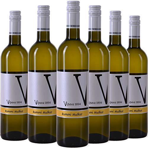 VIPAVA 1894 Weißwein Gelber Muskateller (6 x 0,75 l)-(Rumeni Muškat) 2018, von Hand gelesener süßer Weißwein