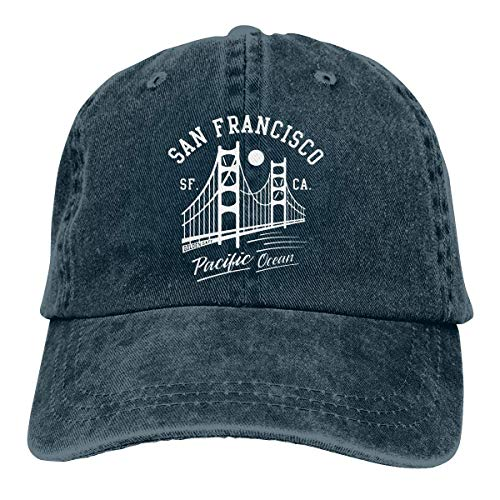 SOTTK Herren Damen Baseball Caps,Hüte, Mützen, Adjustable Vintage Jeans Baseball Caps San Francisco Golden Gate Bridge Moon Snapback - Kostüm Perücken San Francisco