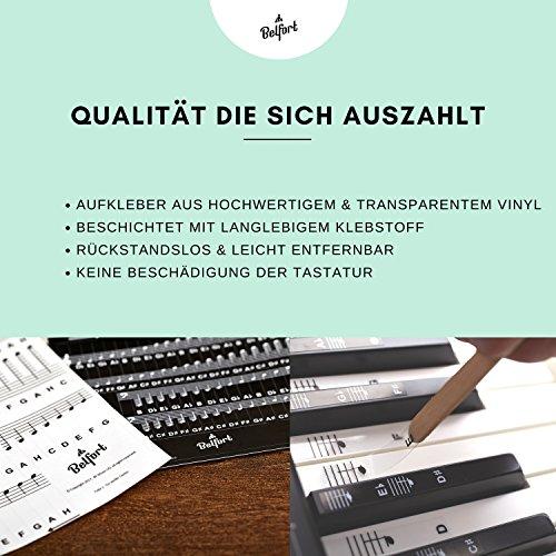Klavier + Keyboard Noten-Aufkleber für 49 | 61 | 76 | 88 Tasten + Gratis Ebook | Premium Piano Sticker Komplettsatz für schwarze + weisse Tasten | C-D-E-F-G-A-H | einfache Anleitung auf Deutsch - 3