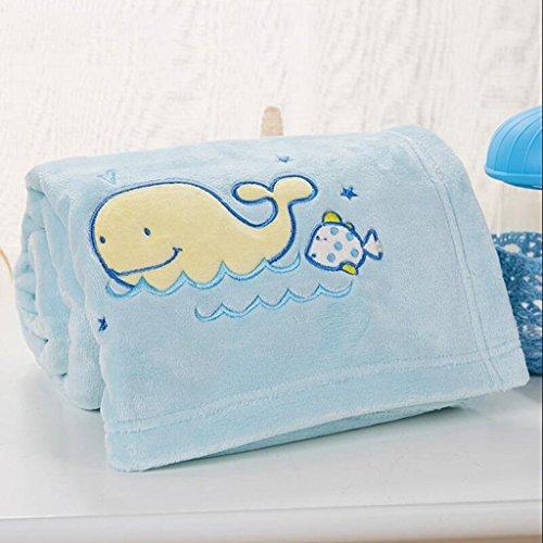 YAOHAOHAO Blauwal Muster babydecke Decke Polyester Material Winter Kindergarten Konzipiert für Baby (100*150cm)