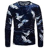KPILP Tops Herren Pullover Hemd Lässig Blumendruck Langarm O Hals Slim T-Shirt Bluse Herbst Winter(Blau,EU-56/CN-XL