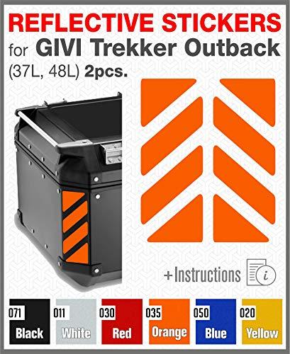 2pcs RIFRANGENTI ADESIVI compatibile con GIVI Monokey Trekker Outback Bauletto Alluminio TOP CASE 37 42 48 L (Orange 035)