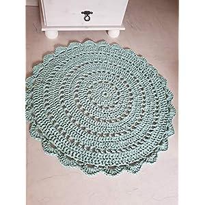 Teppich Häkelteppich rund Kinderteppich Kinderzimmer grün mintgrün Mandala 80 cm
