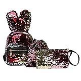 Aprigy - 3 pièces/Set enfants Sac à dos Filles Rabbit Ears Mini Glitter Paillettes Party Sacs à dos Messenger d'embrayage composite Sacs à bandoulière 2018 [2 ]