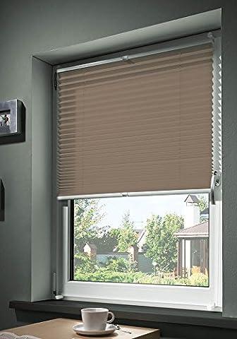 mydeco® 50x130 cm [BxH] in taupe - Plissee Jalousie ohne bohren, Rollo für innen incl. Klemmträger (Klemmfix) - Sonnenschutz, Sichtschutz für