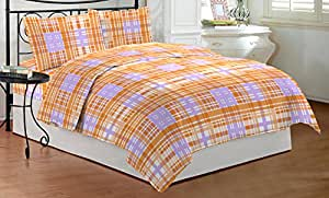 Bombay Dyeing Cynthia Double Bedsheet with 2 Pillow Covers - Orange