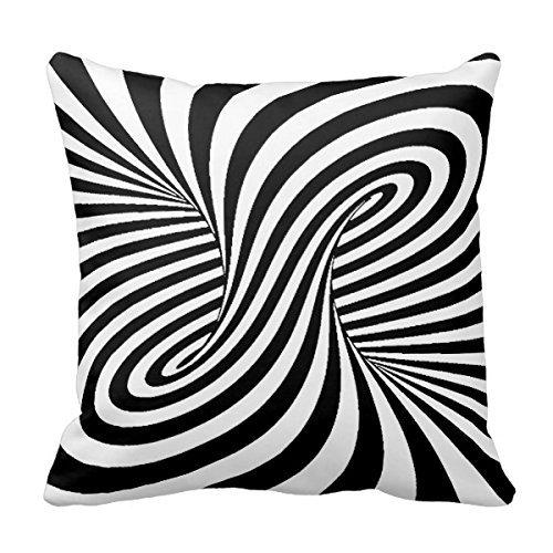 FPcustom Black White Zebra Swirls Patterns Optical Illusion Pillow Cover 16 x 16 Black Zebra Illusion