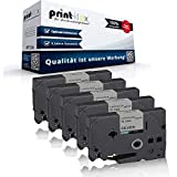 5x Kompatible Schriftbänder für Brother TZE-941 P-Touch 9200PC 9200Series 9500PC 9700PC 9800PCN D400 D400AD D400Series D400VP TZE 941 TZE941 18mm Farb-Band-Kassette Black - Silver - Print Serie