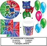 Magnifique- Kit anniversaire PJ MASKS pour 16 personnes + CADEAUX 3 MASQUES PJ MASKS des personnages principal de PJ MASKS NOUVEAUTE 2017-2018