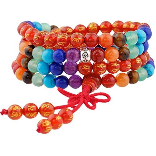 Shanxing 108 Perlen Edelstein Yoga Armband Schmuck Buddha Buddhistische Tibetische Gebetskette Mala Kette Halskette,7 Chakra & Karneol(Sechs Worte - Halskette Perlen Gebet Buddhismus