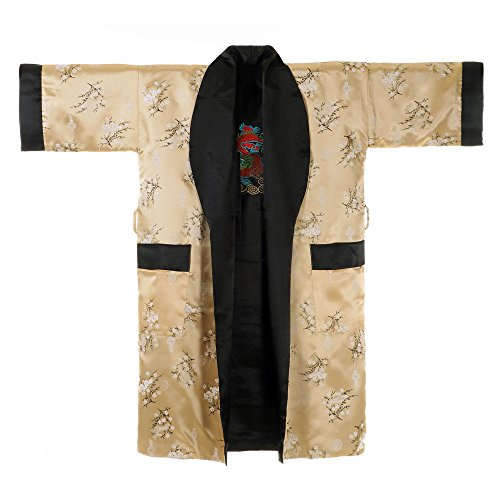 Princess of Asia Japanischer Wende-Kimono Satin Morgenmantel für Damen & Herren mit Drachen-Stickerei Gold (Gold Drachen Kostüm)