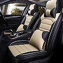 QLL 5-Sitz-Universal Autositzbezug, Atmungsaktiv Rutschfest, 5D Dreidimensionale Leder, 5 Farben Optional,Beige