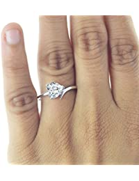 Silver Dew Pure 925 Sterling Silver 0.75 Ct Heart Solitaire Diamond Ring Festival Wear Ring For Women & Girls...