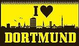 U24 Fahne Flagge I love Dortmund Skyline 90 x 150 cm