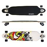 Hengda® Longboard Street Board Cruiserboard Skateboard Komplettboard ABEC 7 Kugellager (Longboard Grafitti Eye-Weiß)