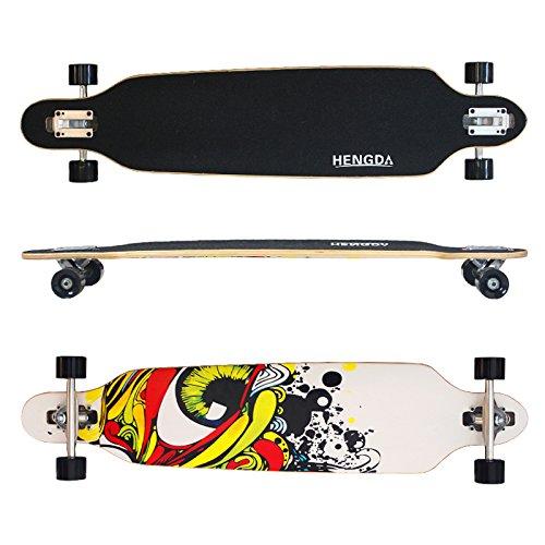 Hengda® Longboard Street Board Cruiserboard Skateboard Komplettboard ABEC 7 Kugellager (Longboard Grafitti Eye-Weiß) (Street Board Skateboard)