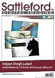 Sattleford Vinylfolie: 16 Vinyl-Klebefolien für Inkjet-Drucker, wetterfest, DIN A4, weiß (Inkjet Vinyl Label)