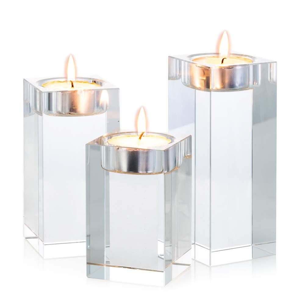 Un Juego(Tres Piezas) De Candeleros Cristales De Vidrio Con Calidad Superior Adornos Creativos Por Las Fiestas, Las Bodas Y Las Ceremonias, O Por El Hogar Y Bar (3# Set)
