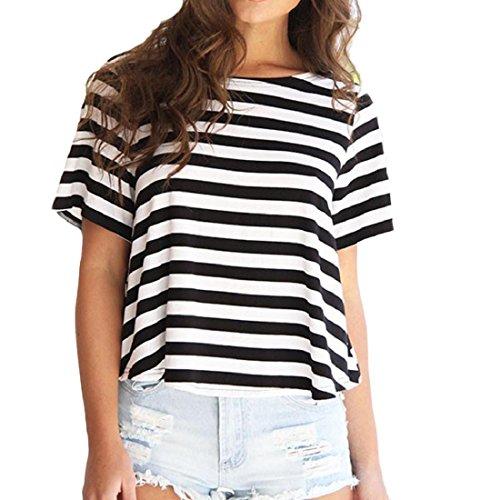 PAOLIAN Damen Frauen Sommer Backless Kurzarm T-Shirt Stripe Tank Tops Beiläufig Gestreift Bluse (M, Schwarz) (Stripe Weste Drape)