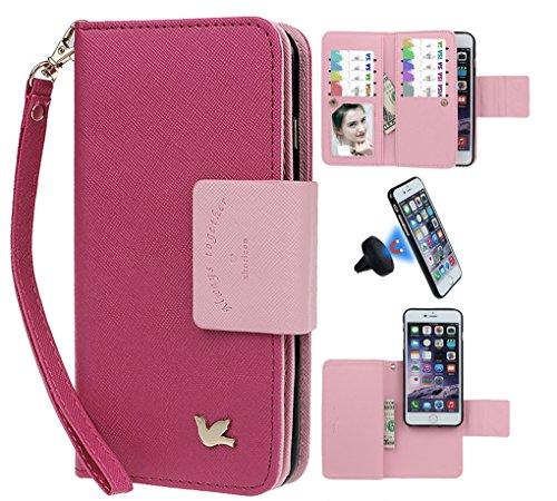 """xhorizon [Aktualisiert] [Luxusgold] [Erklassig] [Magnetisch Auto Mount Kompatible] Premium PU Leder Magnetisch Abnehmbar Mappen Kasten Abdeckung mit Kartensteckplätze Auto-Funktionen iPhone 7 (4.7"""") rose+schwarz Kfz-Halter"""