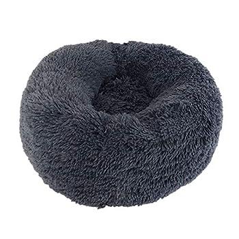 Genlesh Panier Rond pour Chien et Chat en Peluche Douce et Confortable pour Dormir en Hiver, Gris foncé, 50 cm