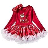 NNJXD Infant Girls Weihnachten Karneval Kostüm Neugeborenes Baby Geburtstag Party Anzieh Kleinkind Mädchen Overall Rock + Stirnband 7-12 Monate #3 Rot