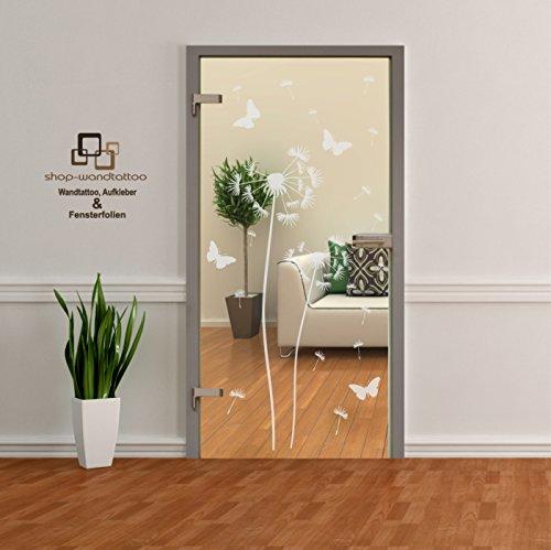 Glastür Aufkleber Tattoo Folie Glasdekor Fensterfolie Sichtschutz für alle Glasflächen Sichtschutzfolie für Türen Pusteblume einzeln oder als Set (2er Set 120cm und 160cm)