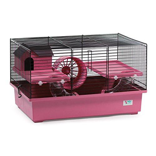 CTC-Trade | Hamsterkäfige Pink Außenmaße 49x32,5x29 Mäusekäfig Nager Hamster Plastik Kleintier Käfig mit Zubehör