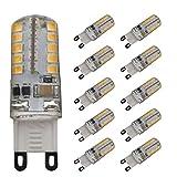 JCKing (Packung mit 10) 3W G9 LED Dimmbare Lampe 40 SMD 2835 LEDS AC 220V - 240V Warm Weiß 2300 3200K 230 LM Halogen Glühlampe Ersatz LED Glühbirne LED Kapsel G9 LED Glühbirnen
