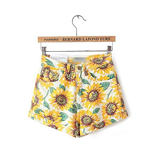 Frauen Shorts,Sun Floral Euro Style Frauen Denim Shorts Vintage Hohe Taille Cuffed Jeans Shorts Street Wear Sexy Sommer Frühling Herbst Shorts, 29. - Cuffed Denim Shorts