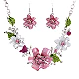YAZILIND Vogue Silver Plated Charming Crystal Flower Bib Collar Necklace Earrings Jewelry Set