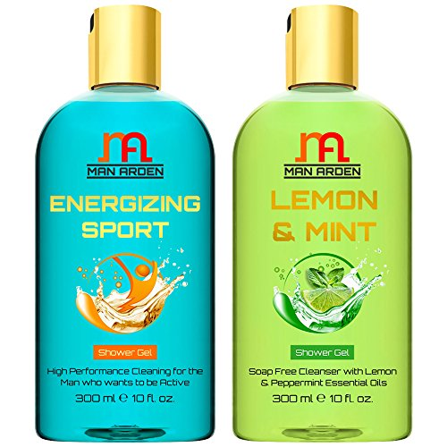 Man Arden Energizing Sport + Lemon & Mint Luxury Shower Gel with Essential Oils - 300 ml