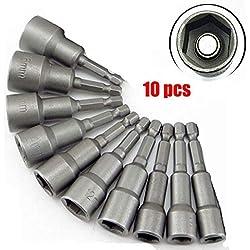 'Malayas 10 x Muttern Magnetische Bit-Adapter, 6–19mm 1/4 Zoll, Innensechskant-Muttern (für Bohrer oder Akkuschrauber)–Starke Verlängerung von Bohrer-Akku (6/7/8/10/12/13/14/15/17/19mm)