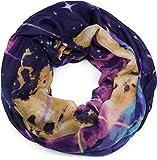 styleBREAKER Damen Loop Schal mit Sterne-Nebel Weltall Motiv, Schlauchschal, Tuch 01017092, Farbe:Violett-Lila