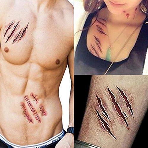 Tutoy 3pcs halloween zombie cicatrici tatuaggi falsi scab sanguinosa trucco terrore ferita sangue spaventoso adesivo ferita