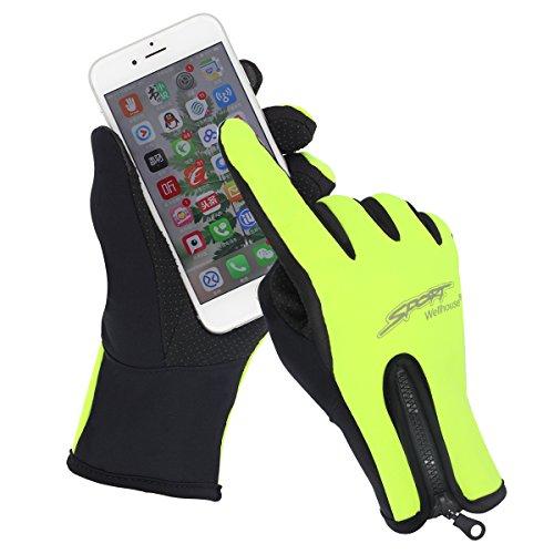 Guanti sportivi touchscreen invernali caldi all'aperto antivento ciclismo running arrampicata sci Guanti smartphone per uomo donna (L, verde)