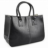tinkertonk Woman Celebrity Vintage Ladies PU Leather Satchels Tote Purse Bag Handbag (Black)