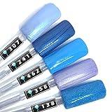 Color Gel 5er Set (je 5ml): Blue Sky - Kollektion - Gel Blau, Gel Blauglitter und Hellblau