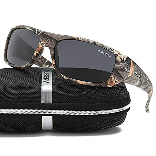 DUBERY Sonnenbrille Herren,Polarisierte Sportbrillen Radsportbrille Unisex,Outdoorbrille zum Fahren & Laufen & Wandern & Angeln & Golf & Reisen,Elegant und Langlebig 100% UV-Schutz (Stein-Schwarz)