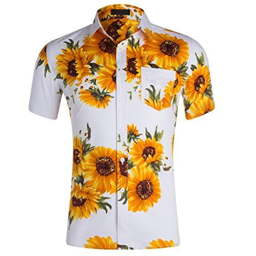 Hibiscus-aloha-shirt Herren (ZHANSANFM Hawaiihemd Herren Revers Freizeithemd Hawaii-Print Sonnenblume Hemden Freizeit Fitness Kurzarm Tops Button Down Strandurlaub T-Shirt Loose Fit 2XL Weiß)