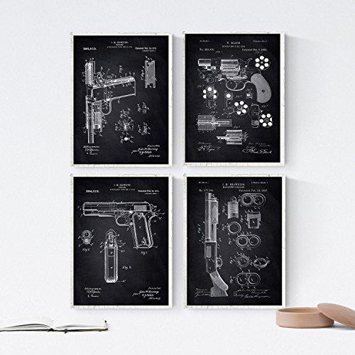 Nacnic Schwarz - Packung mit 4 Blatt mit Pat Armas. Set Poster Antike Erfindungen und Patente. Wählen Sie die Farbe, die Sie mögen. Gedruckt auf 250 Gramm -