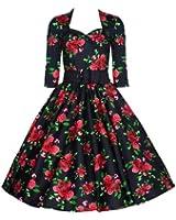 Pretty Kitty Schwarz-Rot Rose geblümten Kleid