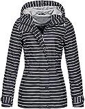 Top Fuel Fashion Damen Gestreifte Regenjacke Anny Wasserabweisender Kapuzenparka Navy/Offwhite XL