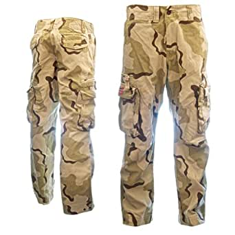 Classic Cargo Mens Combat Trousers 50005 - Tough Premium Quality 100% Cotton Army Combat Pants, Popular with Backpackers, Small Afro Camo