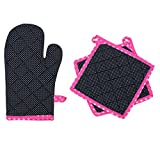 Mia Cotton Black with Pink Glove and Pot Holder Set